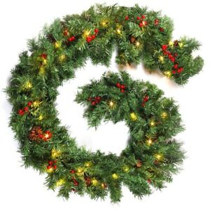9ft Christmas Garland With Lights Stairs Fireplaces Pine Berries