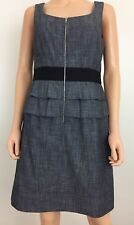 Phoebe Couture size 12 lined sleeveless sheath dress charcoal gray zipper front