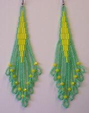 Seed Bead Earrings Native Inspired Yellow & Green Handmade In USA By Me 4.5