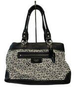 Coach 13532 Black & White Penelope OP Signature Logo Shopper Tote Shoulder Bag