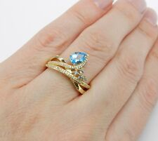 Right Hand Ring Size 7 December Gem 14K Yellow Gold Diamond Pear Blue Topaz