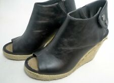 Size 6.5 M Madeline Girl Ankle Black Boots Black Open Toe Wedge Metcalf