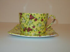 Giordano di Ponzano Cup and Saucer Yellow with Floral Chintz GdP Lovely