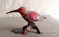 Bird Pewter Enamel Jeweled Trinket Box Animal Figure Decor Orange Rhinestone