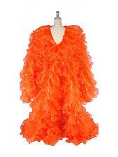 Orange Chiffon Organza cabaret Drag queen Show girl Ruffle Coat