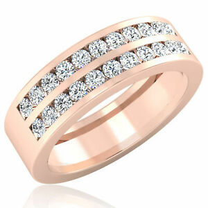 0.88 Ct Natural Diamond Men's Band 14K Solid Rose Gold Women's Ring Size R s T U