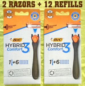 2 BIC Hybrid Comfort 3 Razors + 12 Refills Cartridges - NEW