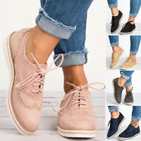 Women Casual Retro Brogues Lace Up Work Vintage Oxford Flat Flatform Shoes Size