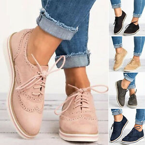 Womens Ladies Oxford Flats Brogues Lace-Up Pumps Office Work Shoes Sneakers