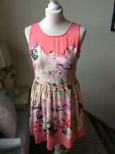 LIPSY Pink Floral Print Chiffon Tea Dress Short Party Size 12 Fit & Flare Summer