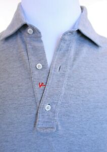 $1100 Isaia Light Gray Knit Pique Long Sleeve Men's Polo Size M