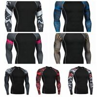 Men's Gym Compression Thermal Under Base Layer Running Sport Long Sleeve T-shirt