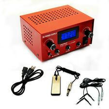 0LCD Digital Dual Tattoo Power Supply 2 Clip Cords Foot Pedal 99-1009-01