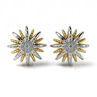 Designer Inspired Two tone Silver Starburst Stud Earrings with 0.38Ct Diamonds