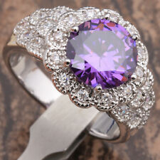 Statement Ring New Size 7/O Silver Amethyst Cubic Zirconia Thick Chunky