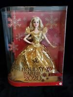 2020 Holiday Signature Barbie Doll Long Blonde Hair/Gold Dress