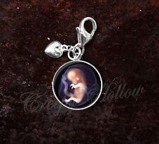 925 Sterling Silver Charm Baby Womb Fetus Medical Science