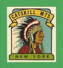 "VINTAGE ORIGINAL 1948 GOLDFARB ""CATSKILL MTS."" CHIEF NEW YORK WATER DECAL ART"