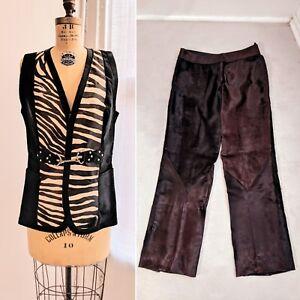 VTG MODAS CARDINALE Madrid Women's Zebra-Dyed Cowhide Vest & Pants Outfit Set L