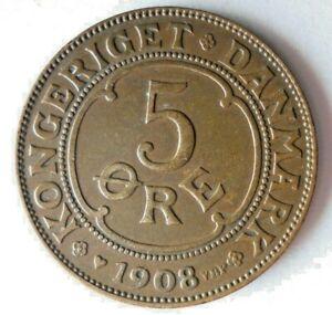 1908 DENMARK 5 ORE - High Quality Rare Coin - Lot #A10