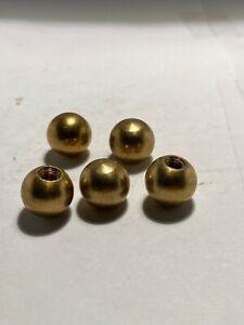 "Lamp hardware lot of 5 solid brass balls 1/2"" diameter threaded 8/32 threads"