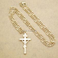 Catholic Religious Gold INRI Crucifix Cross Jesus Figaro Chain Necklace Gift