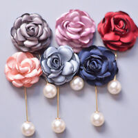 Fashion Brooch Corsage Camellia Boutonniere Brooch Pin Flower Wedding Jewelry