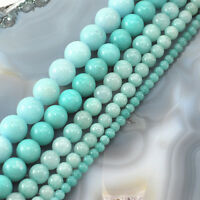 "Larimar Color Jade Smooth Round Spacer Loose Beads 15"" 4mm 6mm 8mm 10mm 12mm"