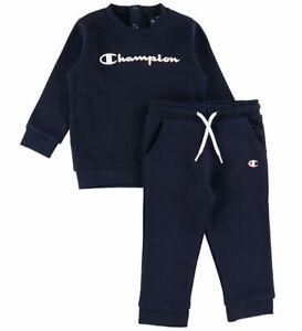 Champion Infant Boys Tracksuit Cotton Crewneck Blue Navy Sports Set 305847-BS501