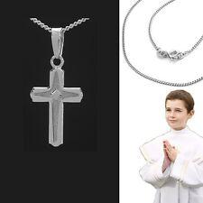 Kinder Erst Kommunion Konfirmation Kreuz Anhänger mit Kette Echt Silber 925 Neu