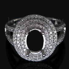 14Kt White Gold Natural Diamond Oval 6x8mm Semi-mount Halo Ring Sets 2T018