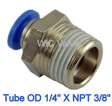 "5pcs Male Straight Connector Tube OD 1/4"" X NPT 3/8"" Push In Fitting One Touch"