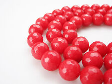 Nice Dyed Jade 12mm Faceted Round Gemstone Loose Beads 15.5 Inches Long