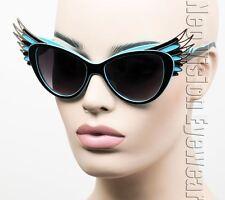 Oversized Cat Eye Sunglasses Feather Wings Vintage Style Gold Black Blue K700
