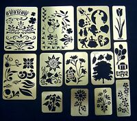13 Brass Stencils including tree,floral,party and random designs.New.