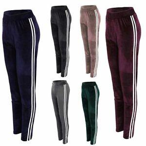 Ladies Women Velour Trouser Leg Black Pants Active Gym Yoga Fitness Bottoms Size