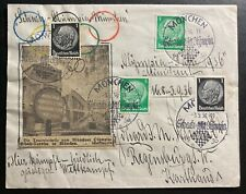 1936 Munich Germany Olympic Games Cover To Regensburg Hand Made Cachet