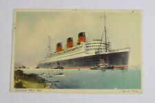 RMS Queen Mary Ship 1949 Postcard, Posted at Sea Cunard-White Star Southampton