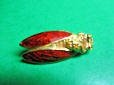 Red Enamel Wings Gold Metal Cicada Provence France Brooch Lapel Pin (Cm128)