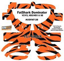 FatShark Dominator V2 V3 HD2 HD3 Skin Wrap Decal Fat Shark Orange Black Stripes