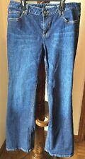 Womens Ann Taylor Size 8 Blue Jeans w gold floral pockets Mint EUC