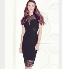 BNWT🌹Lipsy VIP🌹Size 4 Black Mesh / Lace Fitted Wiggle Dress Extra Small XS New