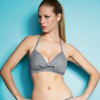 Freya Lindy Hop Halterneck Soft Triangle Plunge Bikini Top Black White 3348 38D