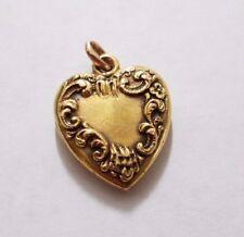 Antique 14k yellow gold locket floral heart photo pendant charm Julie PP3259