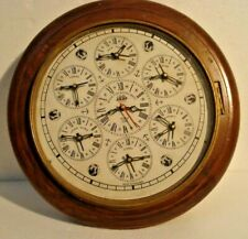 LARGE - MADE FOR ROYAL NAVY 7 COUNTRY Wall Clock - Wooden & Brass (2802)