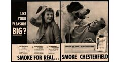 1956 Chesterfield Cigarettes - Couple Smokes & Pets Cute St. Bernard Vintage Ad