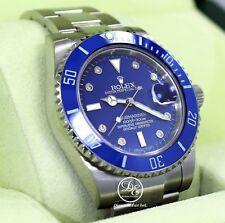 Rolex Submariner 116610 Steel Blue Ceramic Bezel Diamond Dial Men's Watch *MINT*
