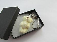 Handmade - Soft Cream Fluffy Teddy Bear Nanny Mum Mummy Sister Keyring Charm