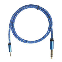 "3.5mm 1/8"" Male to 6.35mm 1/4"" Male TRS Stereo Audio Cable Braided Extension"
