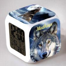 Reveil cube led lumière nuit clock loup personnalisé prénom réf 32